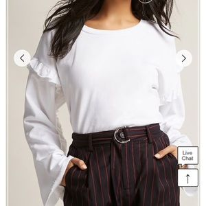 F21 White French terry ruffle top